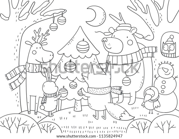 Merry Christmas Coloring Page Stock Vector Royalty Free 1135824947