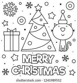 Merry Christmas. Coloring page. Black and white vector illustration.