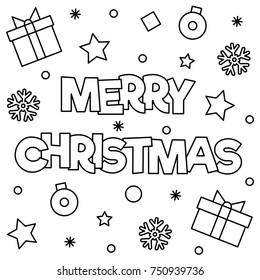 merry christmas coloring page vector illustration stock vector