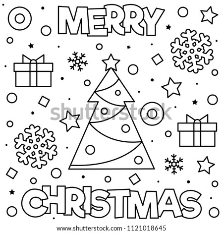 merry christmas coloring page black and white vector illustration of christmas tree snowflakes