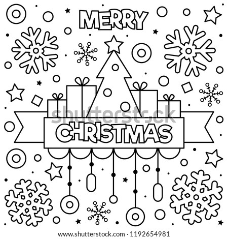 royalty free christmas coloring pages   Merry Christmas Coloring Page Black White Stock Vector ...