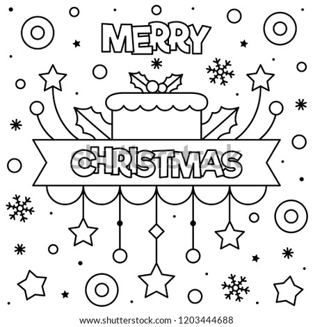 Merry Christmas Coloring Page Black White Stock Vector Royalty Free