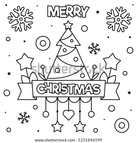 Merry Christmas Coloring Page Black White Stock Vector (Royalty Free ...