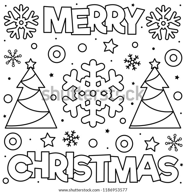 Merry Christmas Coloring Page Black White Stock Vector ...