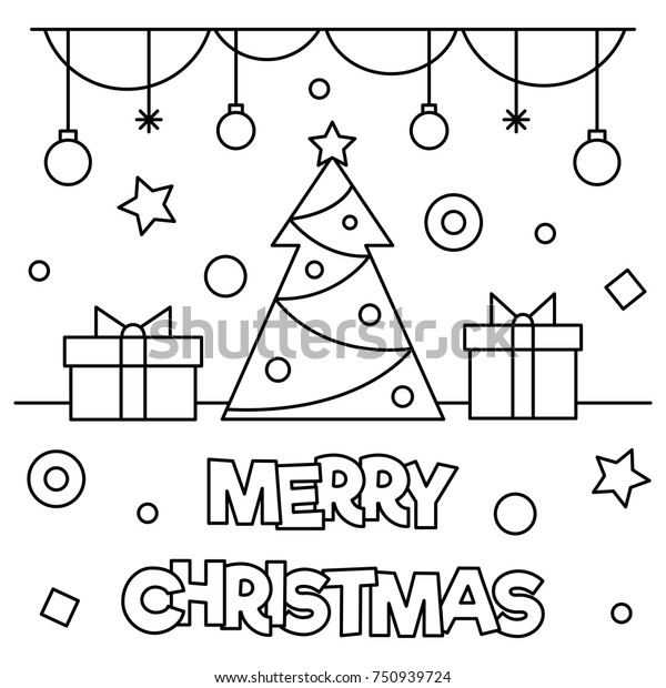 - Merry Christmas Coloring Page Black White Stock Vector (Royalty Free)  750939724