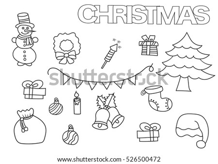 merry christmas coloring page set of elements new year kids game outline vector illustration