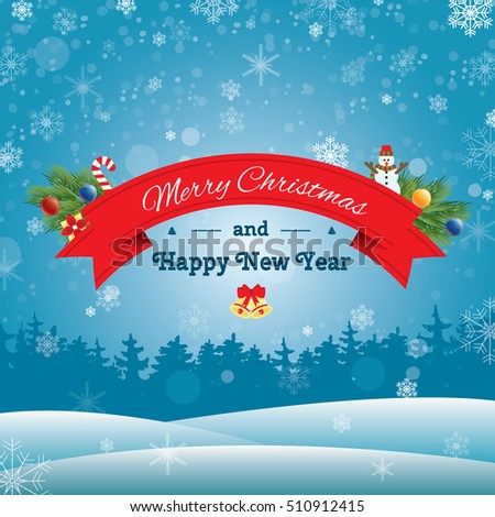 merry christmas concept banner with icons stickers on backdrop happy new year banner template