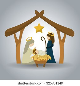 Merry Christmas concept with holy family design, vector illustration 10 eps graphic.