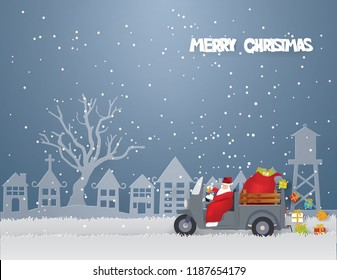 Merry Christmas concept with Santa Claus driving mini truck three wheels and Gift bag coming to Urban countryside city in winter season.Vector and illustration.