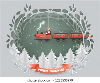 Merry Christmas concept with Santa Claus driving Transportation train tied with white rope on the sky in winter season,paper craft style and illustration