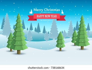 Merry Christmas cover art. Happy new year background. Vector illustration