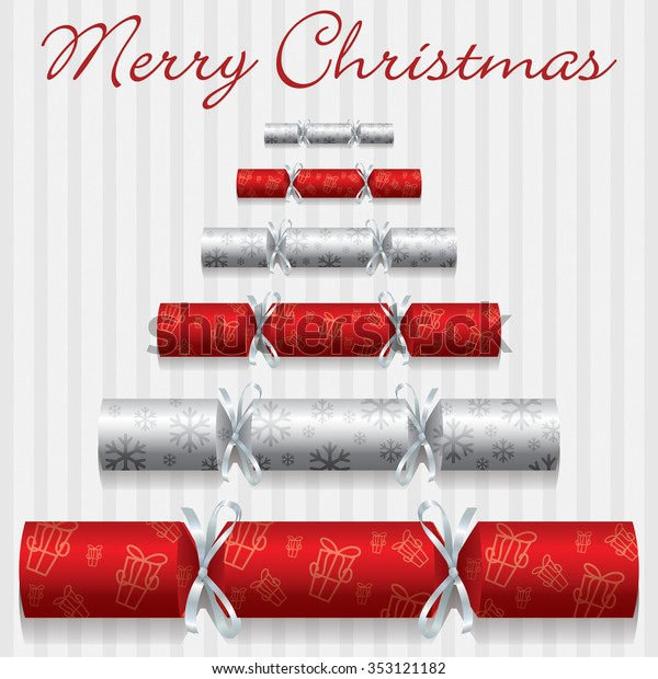 Merry Christmas cracker card in vector format.