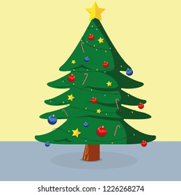 Merry christmas. Crhistmas tree with gift. Decoration objets