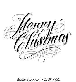 MERRY CHRISTMAS - custom handmade vector calligraphy tattoo design