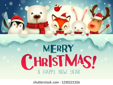 c79cabf529562 Merry Christmas! Christmas cute animals character with big signboard in the  moonlight.