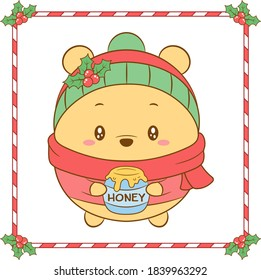 Merry Christmas cute coloring Winnie the bear drawing with red berry and green scarf for winter season