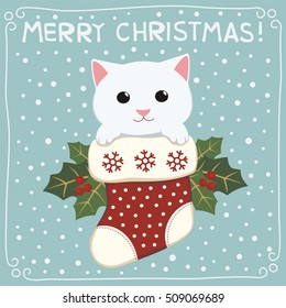 Merry christmas. Cute kitten cat in stocking. Greeting card.