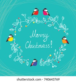 Merry Christmas cute postcard with birds, ornaments and frame. Vector graphic illustration