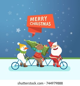 Merry Christmas cute postcard. Santa Claus, Deer and Snowman riding a tandem bike. Vector colorful illustration.