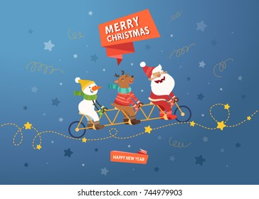 Merry Christmas cute postcard. Santa Claus, Deer and Snowman riding a tandem bike on blue background with stars. Vector colorful illustration.