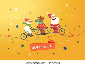 Merry Christmas cute postcard. Santa Claus, Deer and Snowman riding a tandem bike on yellow background with stars. Vector colorful illustration.