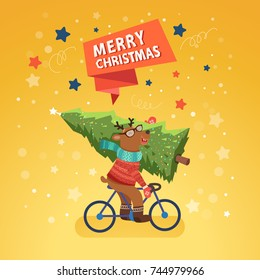 Merry Christmas with cute Reindeer riding a bicycle. Vector illustration, template for Christmas cards.