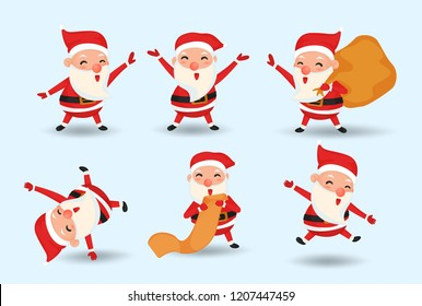 Merry Christmas. Cute Santa Claus Character Collection.