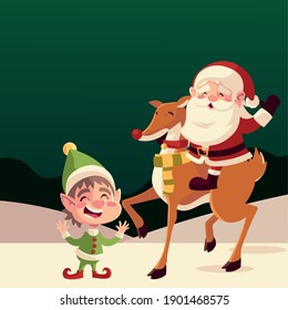 merry christmas cute santa claus in reindeer with helper greeting card vector illustration
