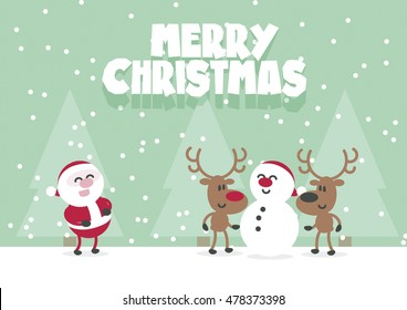 Merry Christmas Cute Santa, Reindeer And Snowman. Flat Vector Xmas Card