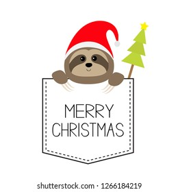 Merry Christmas. Cute sloth face head in the pocket. Santa hat. Fir tree. Cartoon animal. Lazy character. Dash line. White and black color. T-shirt design. New Year. Baby background Flat design Vector