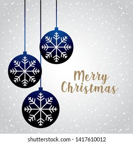 merry christmas decoration blue balls snowflake vector illustration