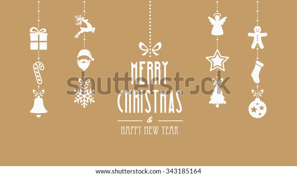 merry christmas decoration elements hanging gold background