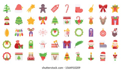 merry christmas decoration ornament icons set vector illustration