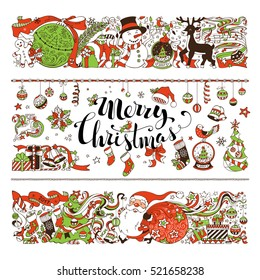 Merry Christmas decorations and design elements isolated on white background. Set of two horizontal Christmas decorations. Christmas tree and balls, Santa with sack, snowman, gingerbread man, birds.