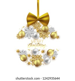 Merry Christmas decorative elements bauble snowflake bow, postcard, invitation, vector illustration