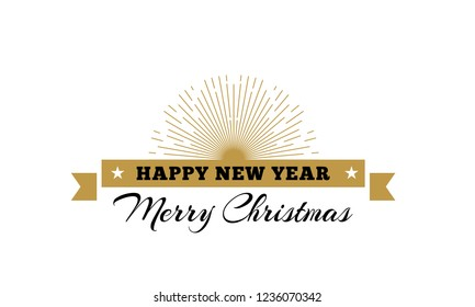 Merry Christmas decorative ribbon with sunburst and typography design. Vector illustration