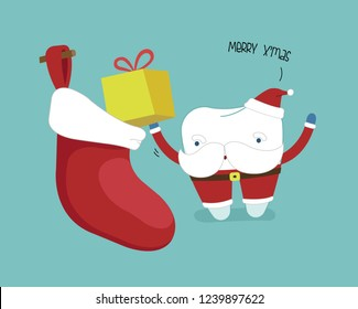 Merry christmas of dental, Santa's tooth with present put in sock, Single white tooth, healthy tooth, oral hygiene, vector modern flat cartoon charactor illustrator, blue background of dental
