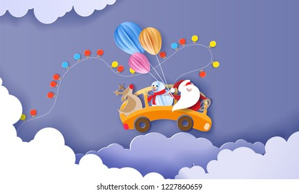 Merry Christmas design card with Santa Claus, Snowman, Reindeer driving yellow bus on clouds and purple sky background . Vector paper art illustration. Paper cut and craft style.