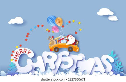 Merry Christmas design card with Santa Claus, Snowman, Reindeer driving yellow bus on big snow letters and blue sky background . Vector paper art illustration. Paper cut and craft style.