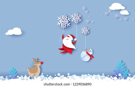 Merry Christmas design card with Santa Claus, Snowman flying with snowflakes over snow field on blue sky background . Vector paper art illustration. Paper cut and craft style.