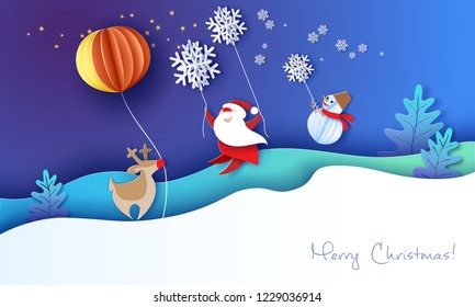 Merry Christmas design card with Santa Claus, Snowman flying with snowflakes over snow hills on blue night starry sky background . Vector paper art illustration. Paper cut and craft style.