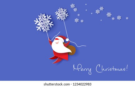 Merry Christmas design card with Santa Claus flying with big snowflakes on purple background . Vector paper art illustration. Paper cut and craft style.
