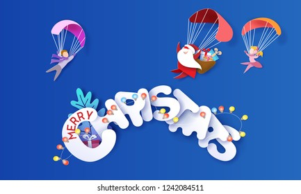 Merry Christmas design card with Santa Claus and children with parachute on big snow letters and blue sky background . Vector paper art illustration. Paper cut and craft style.