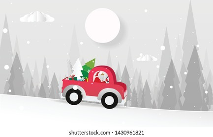 Merry Christmas design card with Santa Claus driving red car on snowy hills and white background. Vector paper art illustration. Paper cut and craft style.