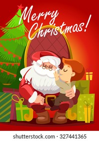 Merry Christmas design concept with cute cartoon Santa Claus holding happy little boy on his knee in front of gifts and christmas tree. Greeting card or poster design. Vector illustration