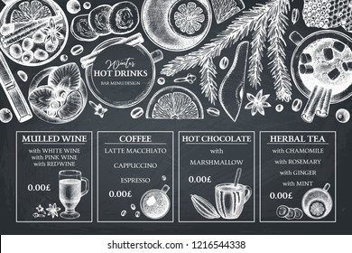Merry Christmas design. Hot drinks bar menu. Hand drawn tea, mulled wine, coffee, hot chocolate ingredients.  Vector beverage and food illustration. Vintage winter template on chalkboard. Top view.
