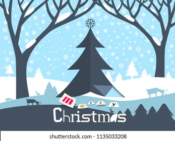 Merry Christmas Design ith Paper Cut Xmas Tree and Winter Landscape ith Deer