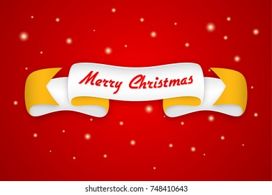 Merry Christmas design with trendy retro style ribbon and text. Vector typography, banner, greeting card, background.