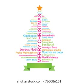 Merry Christmas in different languages in the shape of Christmas tree, celebration word tag cloud greeting card, vector art