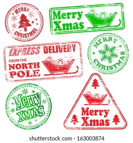 Merry Christmas, different shaped rubber stamp vectors
